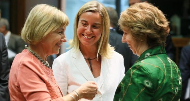 Croatian foreign minister Vesna Pusic, Italian foreign minister Federica Mogherini and EU high representative for foreign affairs Catherine