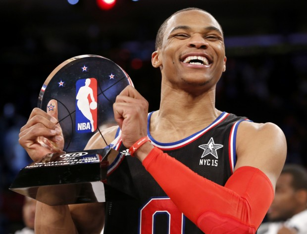 Russell Westbrook with MVP shield at the 2015 NBA All-Star Game