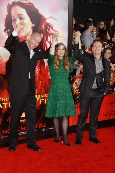 Michael Arndt Suzanne Collins and Simon at Catching Fire Red Carpet