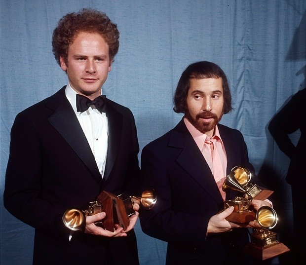 Paul Simon And Art Garfunkel In 1971 With Grammy Awards