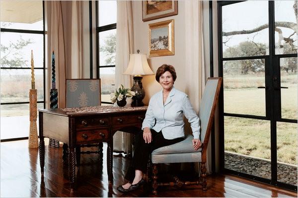 Laura Bush In Her Living Room