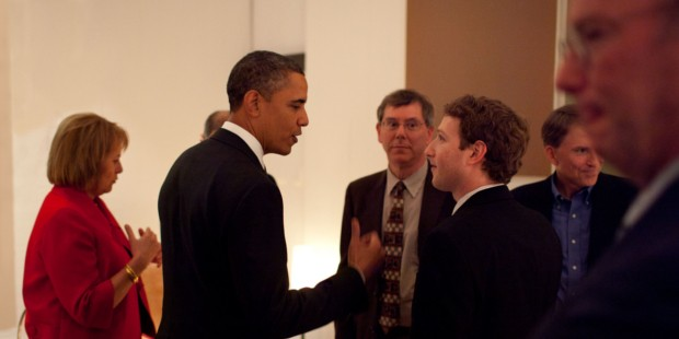 Zuckerberg Listening to US President Barack Obama