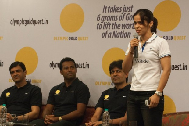 Saina in a Press Conference Along With Geet Sethi, Leander Paes and Prakash Padukone