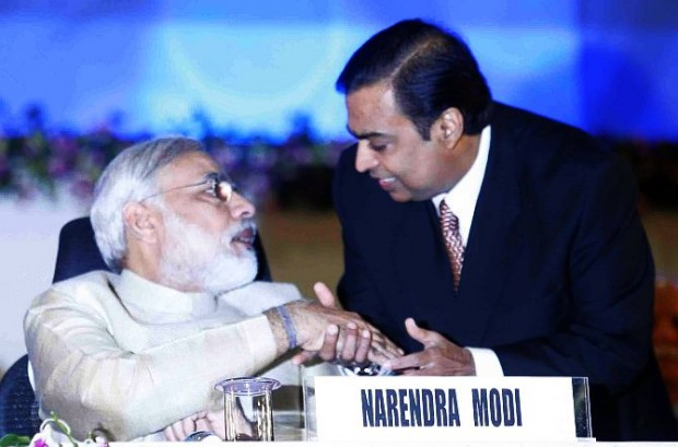 Mukesh Ambani with Indian Prime Minister Narendra Modi