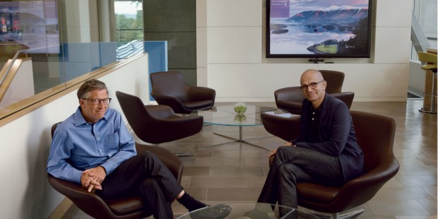 Satya Nadella with Bill Gates at Microsoft's campus, in Redmond, Washington