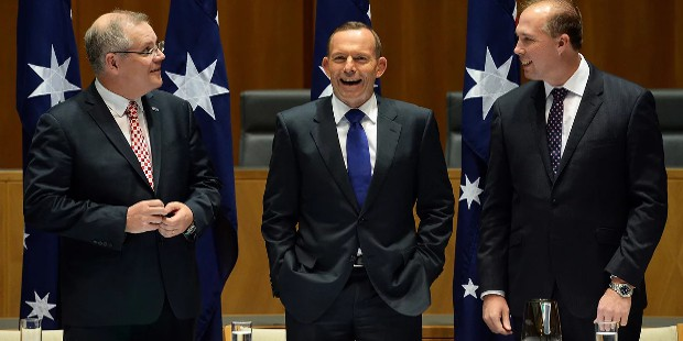 Peter Dutton With Scott Morrison, prime minister Tony Abbott