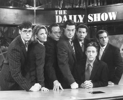 Stephen Colbert (4th from left) with Co Actors