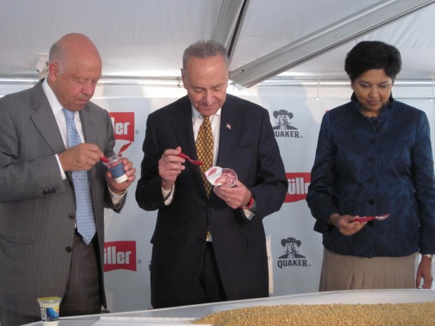 Muller owner Theo Muller, Sen. Charles Schumer, and PepsiCo CEO Indra Nooyi