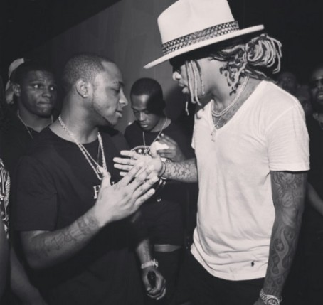 Davido shaking hands with U.S. rapper, Future
