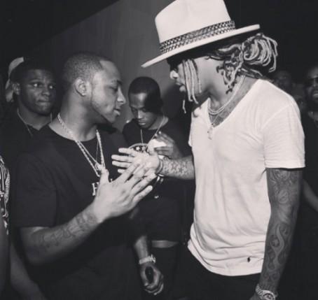 Davido shaking hands with U.S. rapper, Future