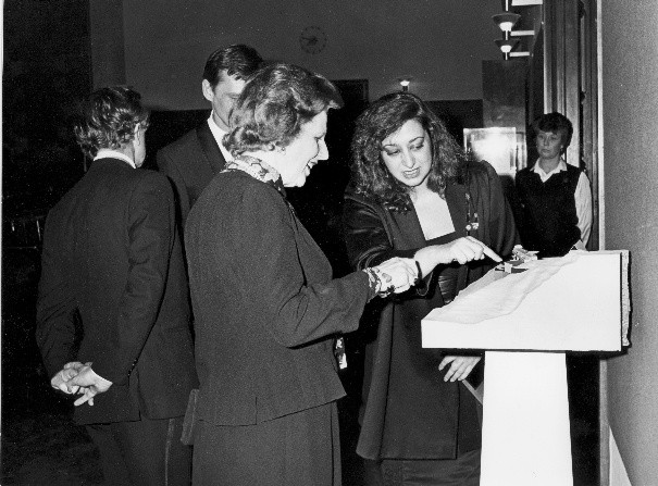Zaha Hadid and Margaret Thatcher in 1984
