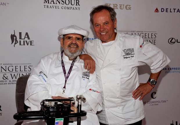 Paul Prudhomme, left, with fellow celebrity chef Wolfgang Puck