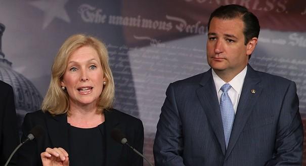 Kirsten Gillibrand with Sen. Ted Cruz