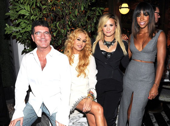 Simon Cowell, Paulina Rubio, Demi Lovato with Kelly Rowland