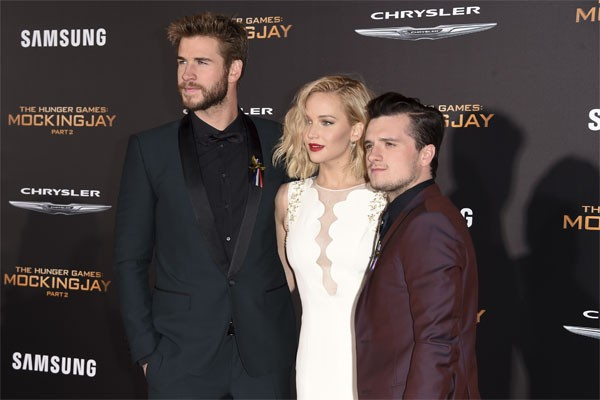 Liam Hemsworth, Jennifer Lawrence and Josh Hutcherson at Mockingjay Premiere