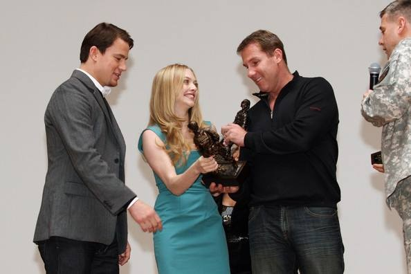 Nicholos Sparks at Fort Bragg, N.C. With Channing Tatum and Amanda Seyfried.