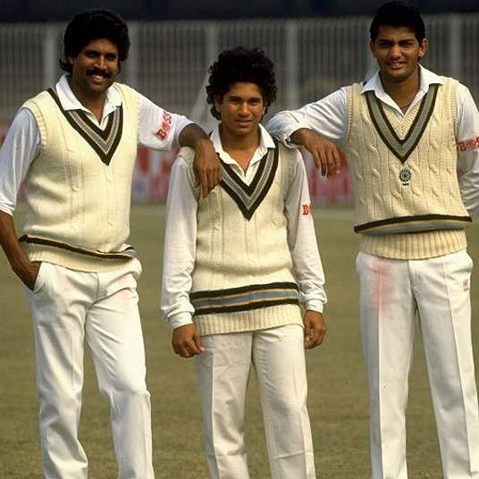 Sachin with Kapil and Azharuddin in Pakistan Tour