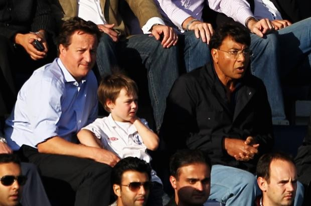 Mittal Watching Football Match with David Cameron Beside