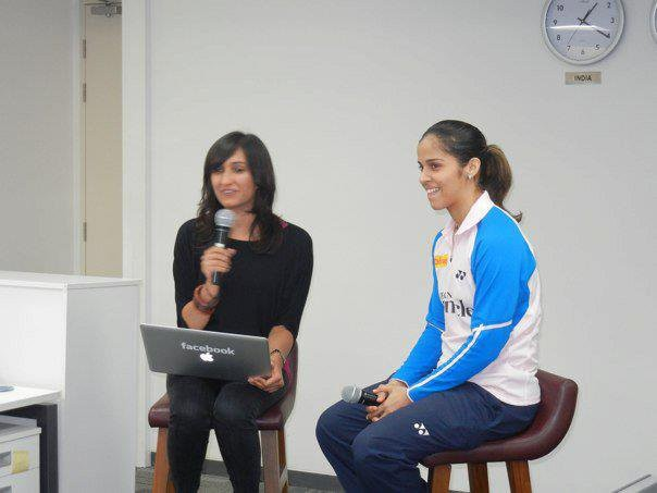 Saina Nehwal in a Live Video Chat at Facebook India organised by Olympic Gold Quest