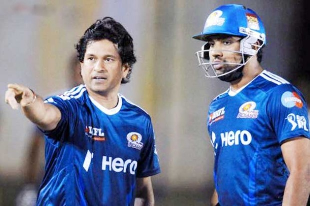 Rohit Sharma With Sachin During IPL Match