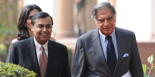 Mukesh Ambani with Ratan Tata