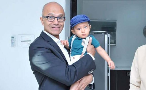 Satya Nadella with the Andhra's Chief Misister's Grand Son