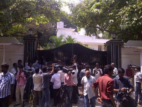 Media Persons Outside  Marans House During the CBI raid in Chennai
