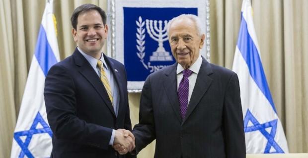 sraeli president Shimon Peres meets US Sen. Marco Antonio Rubio