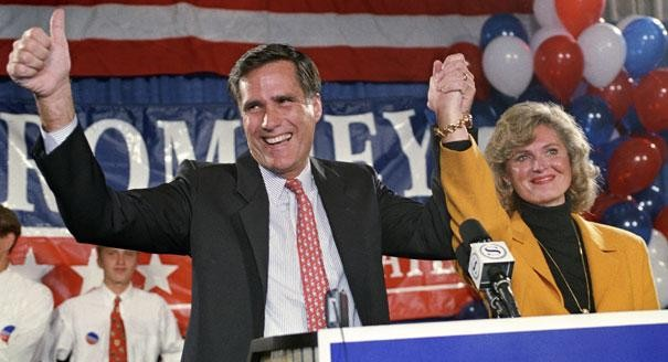 Mitt Romney and his wife Ann (R) celebrate after he became the Republican Nominee