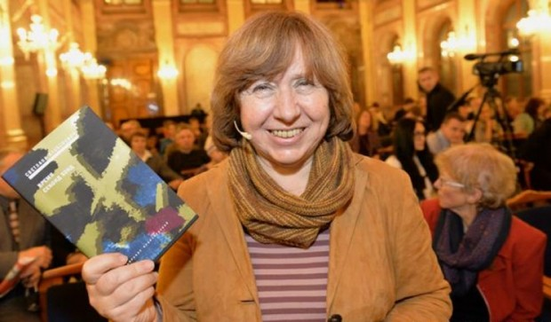 Svetlana Alexievich with His Book