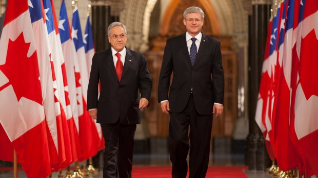 Prime Minister Stephen Harper and Sebastian Pinera, President of Chile