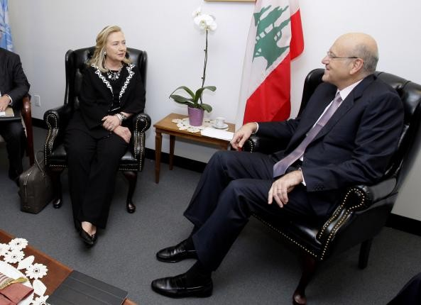 Then United States Secretary of State Hillary Clinton meets with Lebanons Prime Minister Najib Mikati