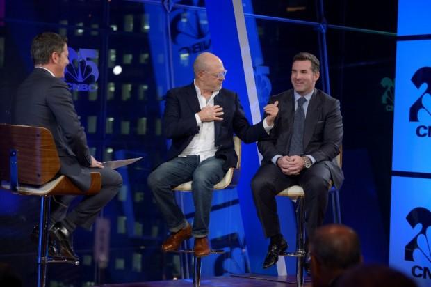 Scott Wapner, Mickey Drexler, and Kevin Plank