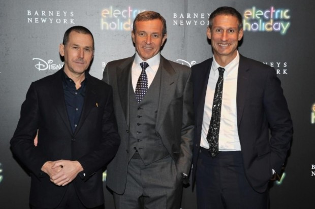 Mark Lee (left), CEO of Barneys, with Disney CEO Bob Iger (center) and Richard Perry