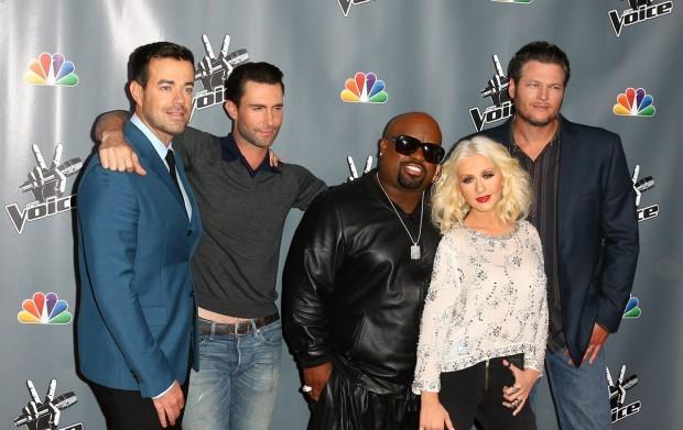 Adam Levine, Blake Shelton, Carson Daly, Cee Lo Green with Christina Aguilera at Voice