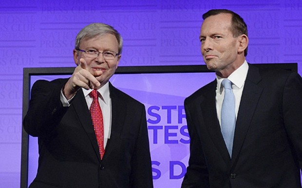 Kevin Rudd (left) with Tony Abbott