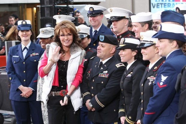 Sarah Palin meets with active soldiers and military veterans Monday outside the Today studio