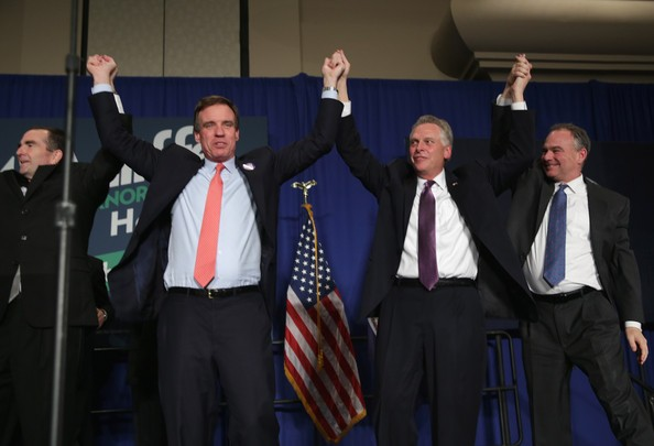 Mark Warner, Terry McAuliffe, Tim Kaine and Ralph Northam Holding Hands