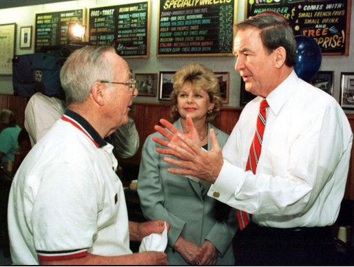 Pat Buchanan, with his wife Shelley looking on, speaks with Dr. Charles Thayer