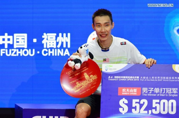 Lee Chong Wei wins mens singles title at Badminton China Open