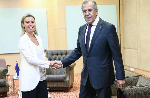 Foreign Minister Sergey Lavrov Shaking Hands With Federica Mogherini,