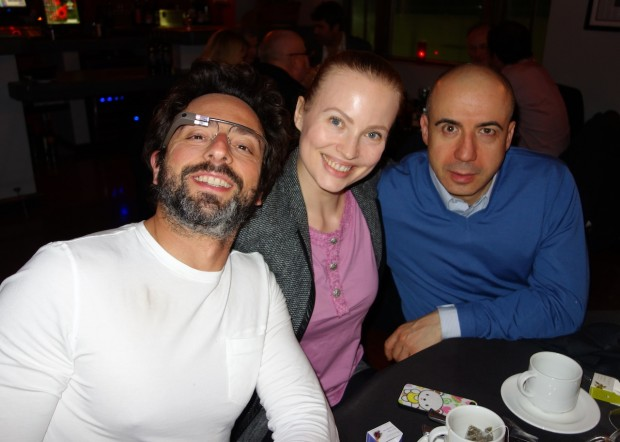 Sergey Brin with Julia Milner and Yuri Milner