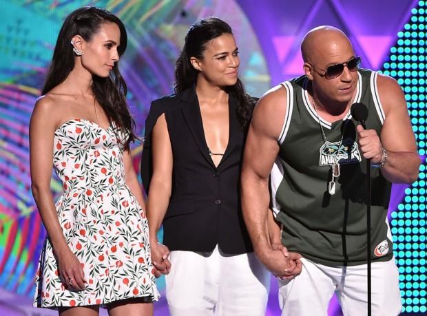 Jordana Brewster, Michelle Rodriguez with Vin Diesel