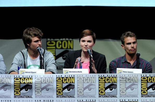 Theo James, Ansel Elgort with Veronica Roth