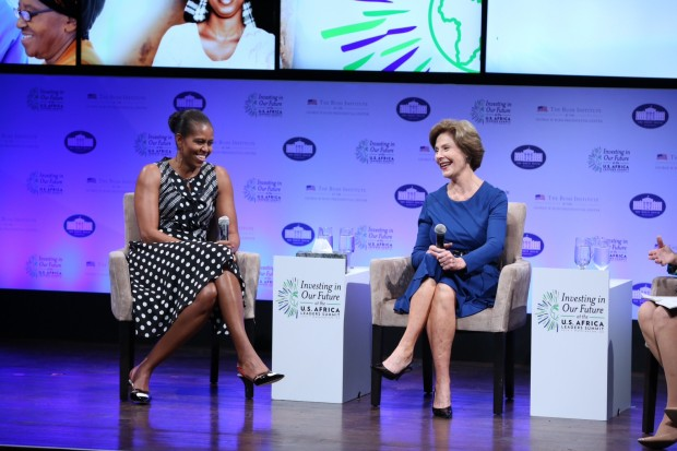 Michelle Obama And Laura Bush On Stage