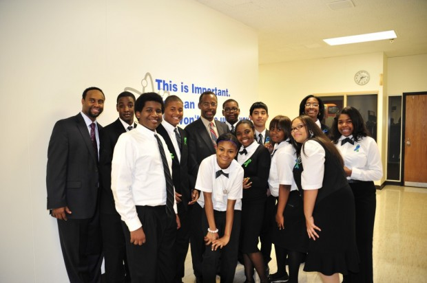 Ben Carson with His Dr. Benjamin Carson High School of Science and Medicine School Students