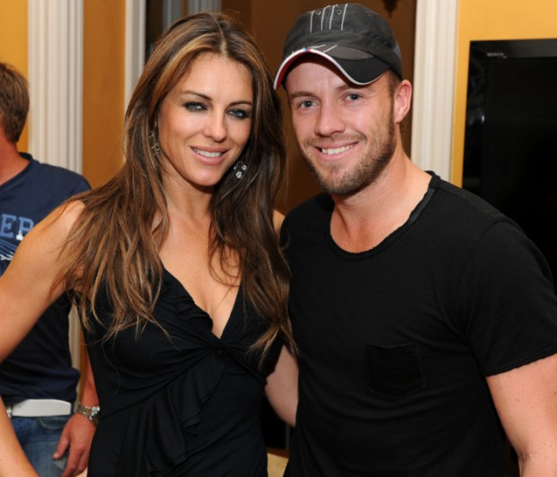 AB De Villiers with Actress Liz Hurley