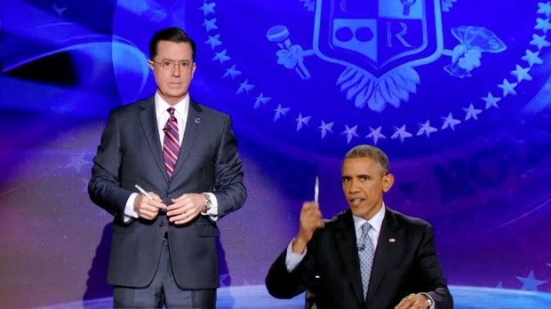 Stephen Colbert with Barack Obama At Colbert Report Show