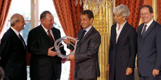 Marc Ladreit of Lacharriere upon Delivery at the Elysee Nicolas Sarkozy by the Creative Audacity Price