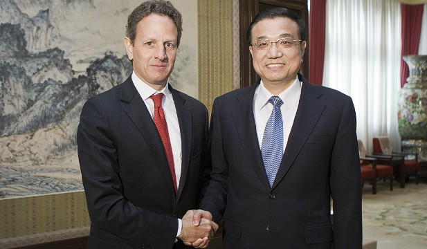 U.S. Treasury Secretary Timothy Geithner meets with Chinese Vice Premier Li Keqiang